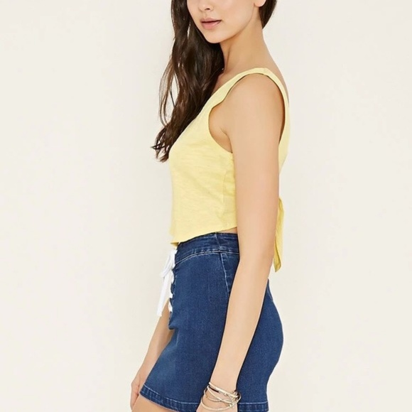 7157a5a7f15099 Forever 21 Tops -  Forever 21  Slub Knit Tie Back Tank Top